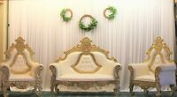 3 PIECE GOLD WEDDING SOFA SET HIRE ONLY £240 - RENTAL PLEASE READ AD