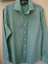 Ralph Lauren Polo Camisa a rayas, manga larga talla mediana.