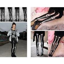 Cool Girl Skull Skeleton Bone Halloween Party Tight Pantyhose Opaque Stocking
