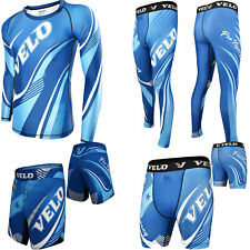 Velo Mma Shorts Rash Guard Training Compression Leggings Mma Fitness Exercise