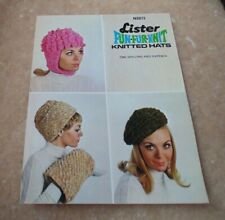 Vintage ladies knitting pattern for hats in Lister Fun Fur