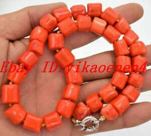 """Amazing 11x14mm Orange Cylinder Coral Gemstone Beads Necklace 18"""""""