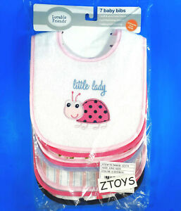 Luvable Friends👶BABY COTTON TERRY DROOLER BIBS👶PEVA Back Ladybug One Size 7-PK