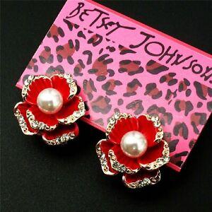 Betsey Johnson Pearl Flower Red Rose Gold Drop Dangle Earrings Free Gift Bag