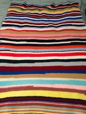 "Hand Made Crocheted Afghan Throw Blanket  Multi Color 47""x 64"" Needs Repair"
