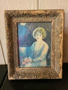 "Antique Vintage Victorian Gilded Wood Gesso Frame Gold 6"" x 8.5"" Opening"