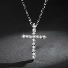 Faith Cross Silver SP Pave Cubic Zirconia Pendant Necklace