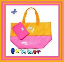 PINK BY VICTORIA'S SECRET SEXY HUGE BEACH TOTE PINK & ORANGE WITH CANVAS POUCH