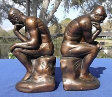 """Vintage Pair of Nude Bronze Clad """"The Thinker"""" Bookends 8 ½"""" x 5"""""""
