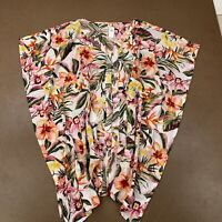 Old Navy Women's Size Large Tropical Print Gauze Button Caftan Swim Cover Up NWT