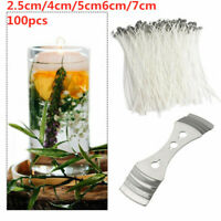 Pack 100 Pre Waxed Candle Wicks for Candle Making With Sustainers - 2.5-7CM Long