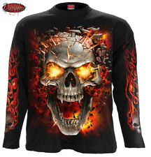 SPIRAL DIRECT SKULL BLAST Long Sleeve T-Shirt/Tattoo/Fire Skull/Goth/Flames/Top