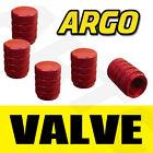 RED CHROME ALUMINIUM VALVE DUST TYRE WHEEL CAPS CAR ALFA ROMEO MITO HATCHBACK