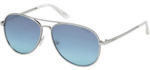 Guess Women's Shiny Nickel Aviator Sunglasses w/Glitter Detail - GU7555 10X