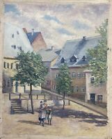 Oil Painting Street Scene IN the City With People Mother Children Marketplace