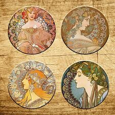 Alphonse Mucha Art Nouveau set of 4 Round Rubber Drink Coaster