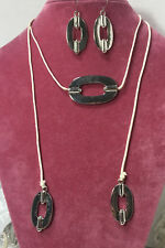NEW Silver Triple Oval Ring Adjustable Necklace & Dangle Earrings  6 sets # H25