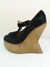 JEFFREY CAMPBELL Wooden Leather High Heel Sandal Shoe Platform Wedge Size 6 39