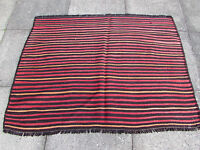 Old Traditional Hand Made Persian Oriental Red Brown Wool Kilim Rug 105x140cm