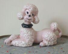 Vintage Mid Century Atlantic Mold Ceramic Pink Poodle Figurine Ornament 1950`s