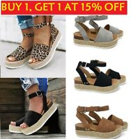 Women Summer Beach Sandals Platform  Print Espadrilles Ladies Shoes