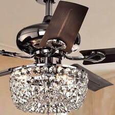 Crystal Chandelier 3-Light 5-blade 43-inch Brown Ceiling Fan -Remote