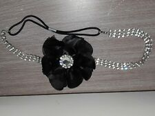 Diamante And Black Flower Teen / Ladies Stretch Headband
