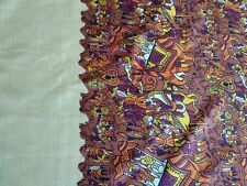 Vintage Silk Sari Sarong Fabric Crafts Brown/Rust Printed Border Indian Ethnic