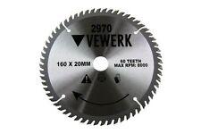VEWERK Lama Circolare TCT 160 mm x 20/16 60 DENTI 60 T Mitre tavola di legno