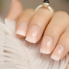 SHORT *FRENCH MANI BLEND* Full Cover Beige Transparent 24 Nails + Glue!