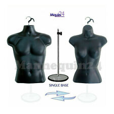 2 Mannequins Set Of Black Male Amp Female Torso Dress Forms 1 Stand 2 Hangers