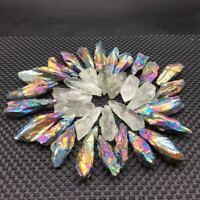 A Lot of Green Crystal&Titanium Rainbow Aura Lemurian Quartz Point Healing 100g
