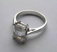 Anillos de joyería con gemas Solitario de plata de ley esmeralda