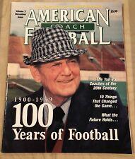 1999 American Football Coach Magazine Bear Bryant 100 Years Of Football
