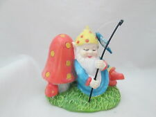 "The Spring Shop 2 1/4"" Fishing Garden Gnome with Mushroom Figurine"