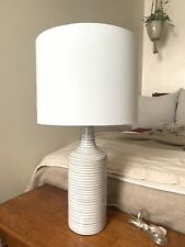 Contemporary Striped Cylinder Ceramic Table Lamp
