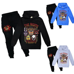 Boys Girls Five Nights at Freddy's Casual Hooded Sweatshirt Tops +Trousers Set