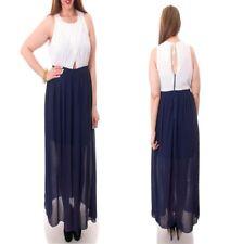 LD19 New Womens Size 18 Blue Sleeveless Maxi Boho Beach Party Chiffon Long Dress
