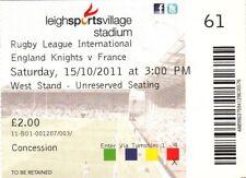 Ticket - England Knights v France 15.10.2011 @ Leigh Sports Village