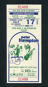 Original 1976 Peter Frampton Yes unused concert ticket Anaheim Show Me The Way