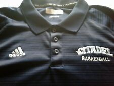 Adidas Mens Climilate Charleston Citadel Bulldogs Basketball Polo Shirt Blue 2XL