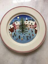 "Villeroy & Boch Naif Christmas Tree Skating Scene Salad Desert 8"" Plate"