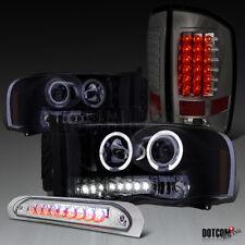 Glossy Black 2003-2005 RAM Projector Headlights+LED Tail Lamps+3Rd Brake Light