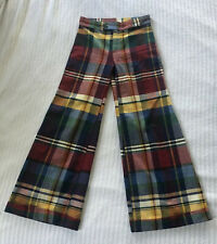 Vintage 70s Classic Plaid Stovepipe Flare Pants Mod Dandy High Rise Waist Tailor