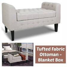 Tufted Fabric Ottoman Storage Bench Seat Blanket Box Footstool Bedroom Hallway