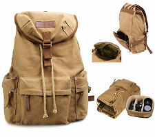 Vintage Canvas DSLR SLR Camera Bag Padding Case Travel Backpack For Canon Nikon