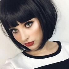 Synthetic Bob Wig Short Staright Full Black Wig with Bangs for Women Fashion Wig