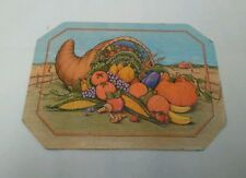 Antique Tin Series Hot Mat With Cornucopia By Wings 1987 Usa Table Or Wall