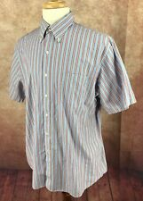 Lands' End Short Sleeve Button Down Blue Orange Stripe Shirt Men's 17 XL