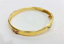 14k Yellow Gold Girl's Enamel Teddy Bear Design Bangle